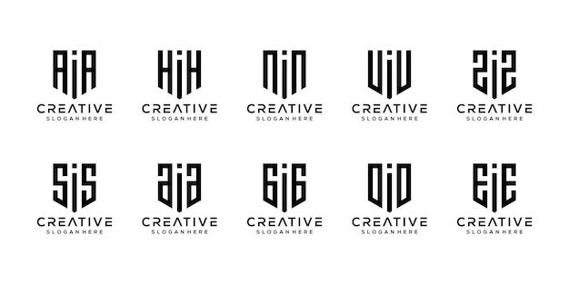 創造的なモノグラム文字iロゴデザインテンプレートのセット