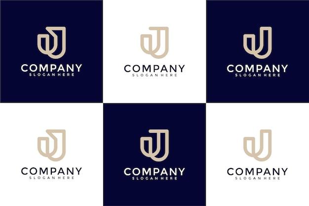 Набор творческих вензелей буква j логотип шаблон