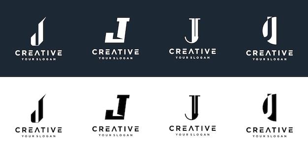 Набор творческих монограмм буква j логотипов