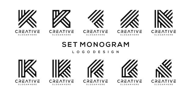 創造的なモノグラム文字kロゴデザインテンプレートのセットです。