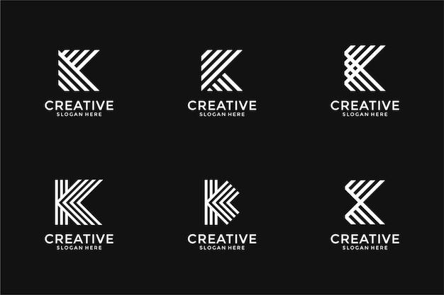 創造的なモノグラム文字kロゴデザインテンプレートのセット