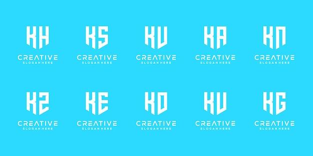 Набор творческих монограмм буква k логотипа дизайн шаблона