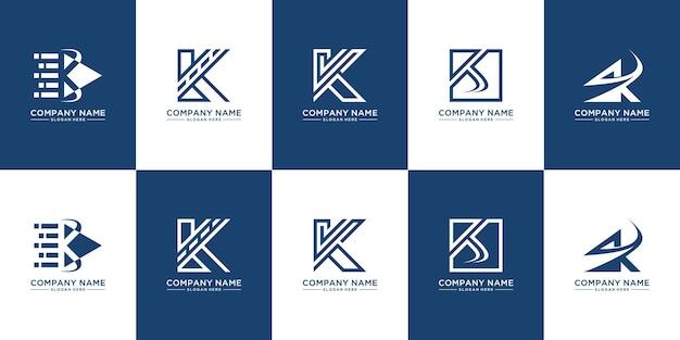 クリエイティブなモノグラム文字kロゴデザインのセット