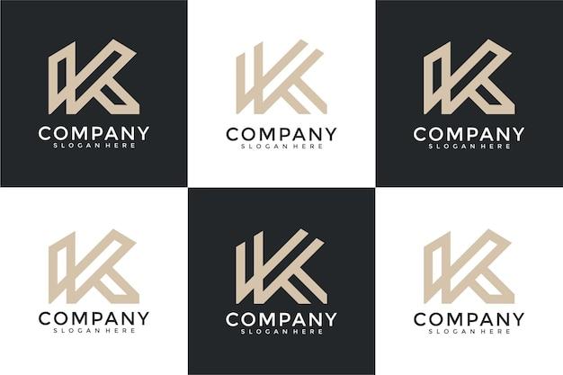 Набор творческих вензелей буква k логотип шаблон