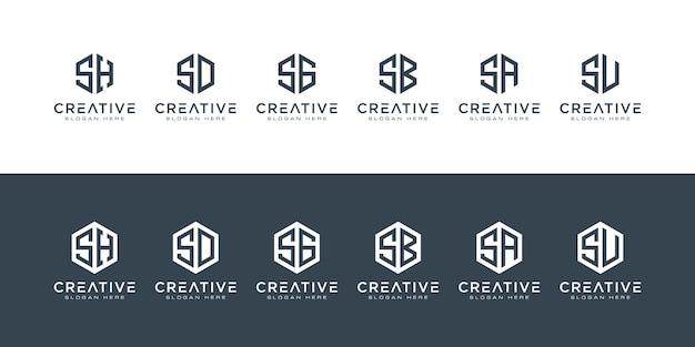 창의적인 모노그램 문자 로고 육각형 세트