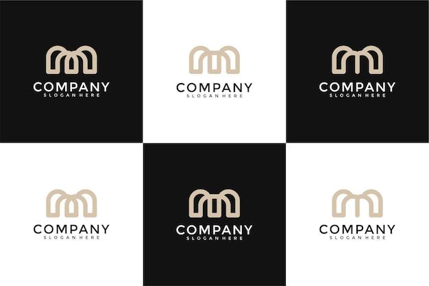 創造的なモノグラム文字mロゴデザインのインスピレーションのセット