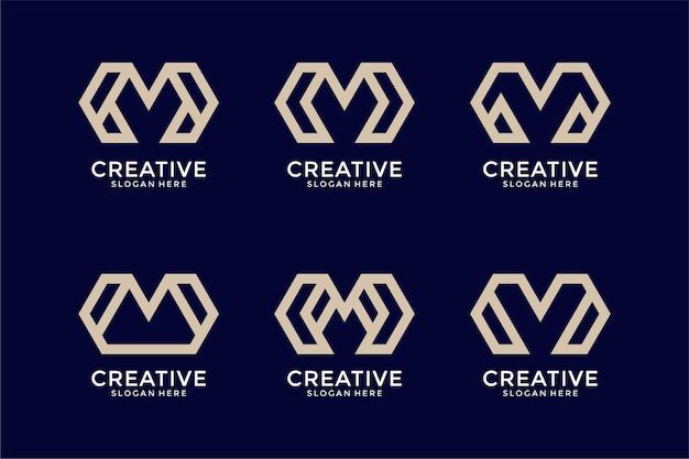 創造的なモノグラム文字mロゴデザインテンプレートのセット