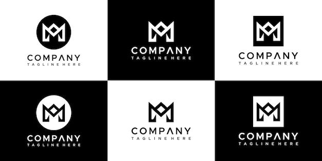 창의적인 모노그램 문자 m 로고 디자인 세트