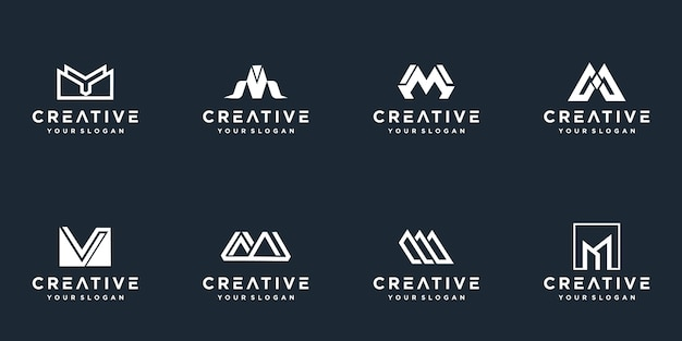 창의적인 모노그램 문자 m 로고 템플릿 집합입니다.