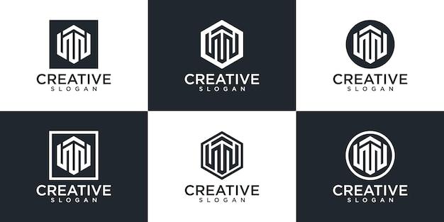 Набор креативных шаблонов логотипа буква m вензеля