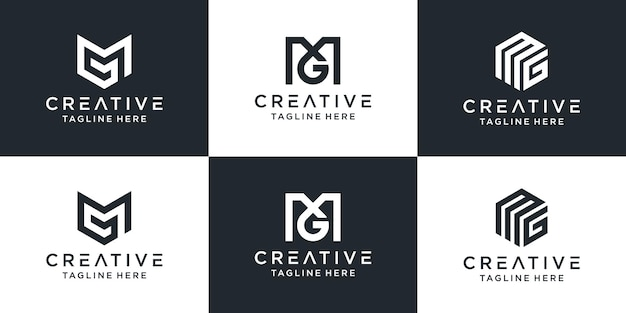 創造的なモノグラム文字mgロゴ抽象的なデザインのインスピレーションのセット