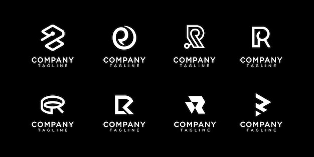 Набор творческих вензеля буква r логотип дизайн шаблона. логотип может быть использован для строительной компании.