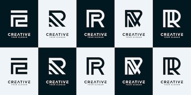 크리에이 티브 모노그램 문자 r 로고 디자인 서식 파일의 집합입니다. 로고는 회사 건물에 사용할 수 있습니다.