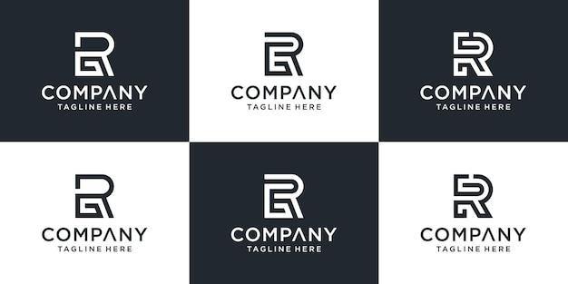 創造的なモノグラム文字rgロゴ抽象的なデザインのインスピレーションのセット。