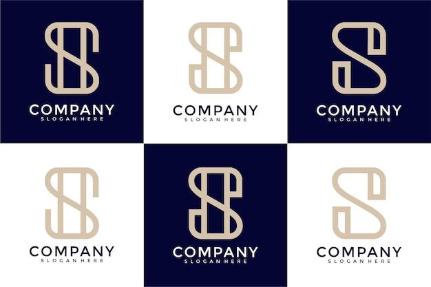 創造的なモノグラム文字のロゴデザインのインスピレーションのセット