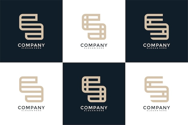 創造的なモノグラム文字のロゴデザインのセット