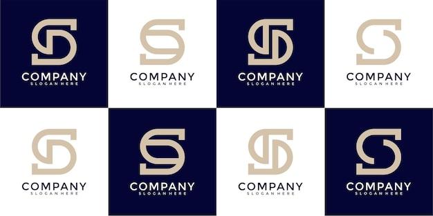 창의적인 모노그램 문자 s 로고 디자인 세트
