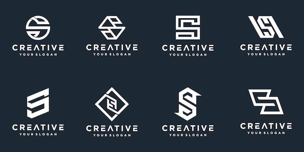 Набор креативных логотипов буквы s с монограммой