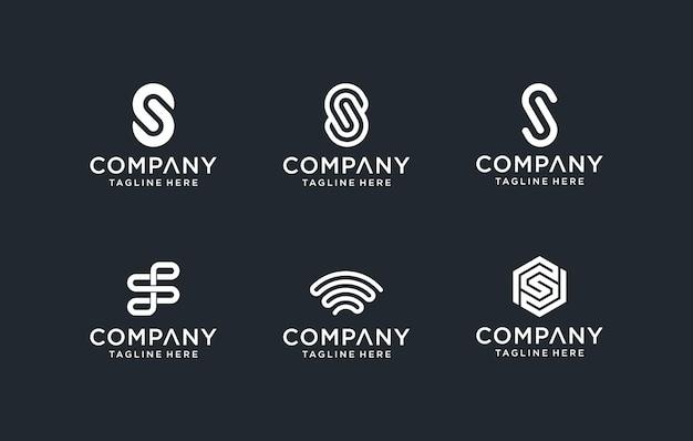 創造的なモノグラム文字ssロゴテンプレートのセット。ロゴは、建築、ビジネス、テクノロジー企業に使用できます。