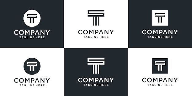 Набор творческих вензелей буква t вдохновение дизайн логотипа