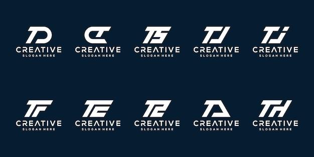 Набор творческих вензелей буква t логотип дизайн шаблона