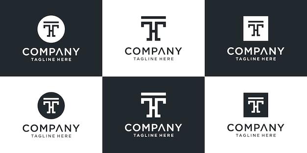 Набор творческих вензелей буква th дизайн логотипа вдохновение
