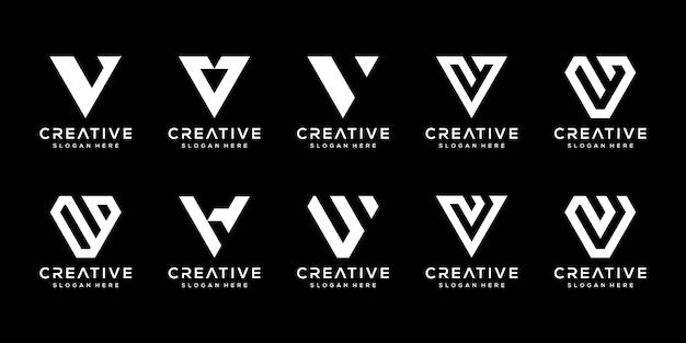 創造的なモノグラム文字vロゴデザインテンプレートのセット。