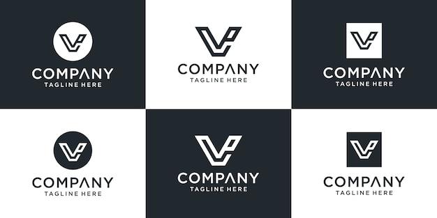 창의적인 모노그램 편지 vp 로고 디자인 영감 세트