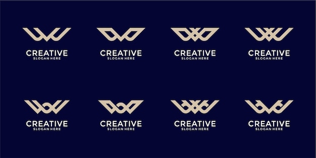創造的なモノグラム文字wロゴ抽象的なデザインのインスピレーションのセット