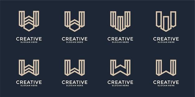 創造的なモノグラム文字wロゴデザインのインスピレーションのセット