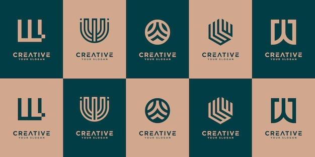 創造的なモノグラム文字wロゴデザインテンプレートのセットです。ロゴはブランドアイデンティティに使用できます。
