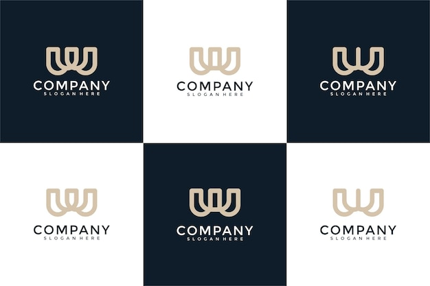 Набор творческих вензелей буква w логотип шаблон