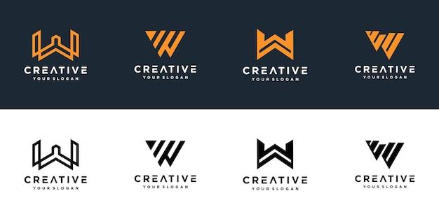 創造的なモノグラム文字wロゴのセット