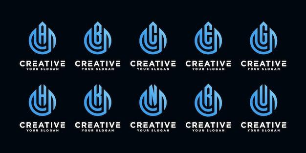 オイルドロップロゴデザインテンプレートとクリエイティブなモノグラム文字のセット
