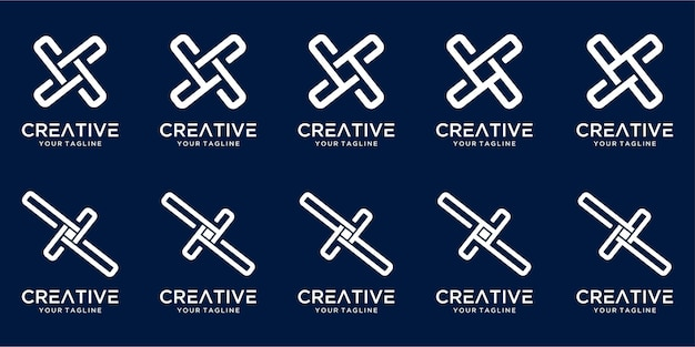 Набор креативных монограмм буква x дизайн логотипа