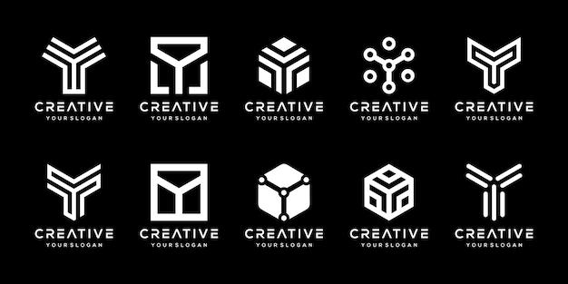 Набор творческих вензелей буква y логотипа дизайн шаблона