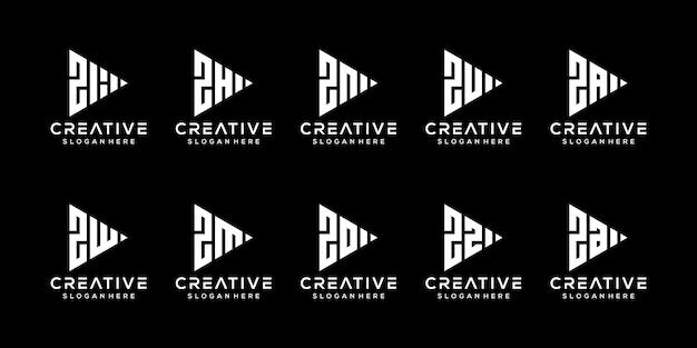 創造的なモノグラム文字zロゴデザインテンプレートのセット