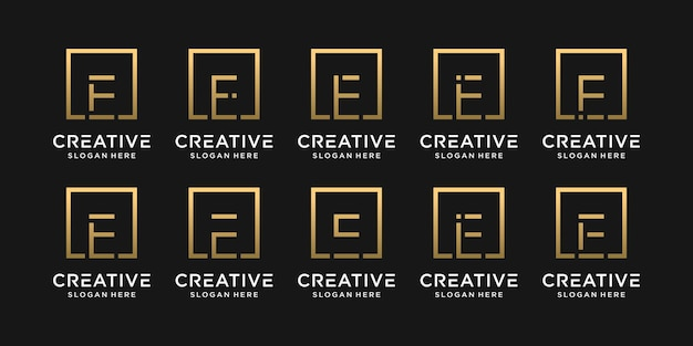정사각형 스타일의 창의적인 모노그램 로고 디자인 초기 문자 e의 집합입니다.
