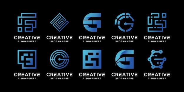 독특한 컨셉의 크리에이 티브 모노그램 로고 디자인 초기 문자 g 세트 프리미엄 벡터