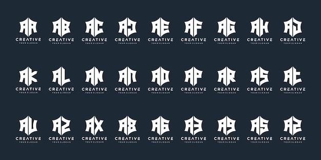 고급스럽고 우아한 단순한 비즈니스를 위한 창의적인 모노그램 로고 디자인 영감 아이콘 세트