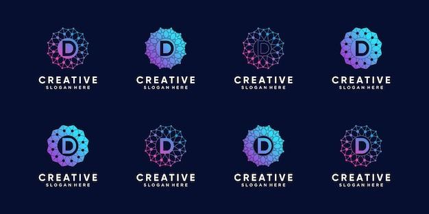Набор творческих вензеля технологии дизайна логотипа буквица d с линией искусства и точечным стилем. премиум векторы
