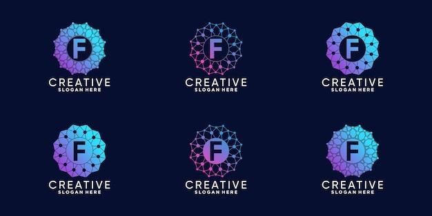 라인 아트와 도트 스타일이 있는 창의적인 모노그램 로고 디자인 기술 초기 문자 f 세트