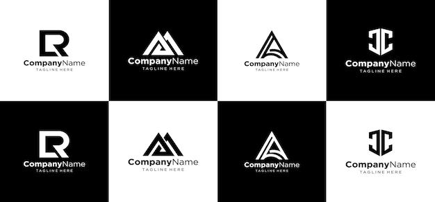 創造的なモノグラムロゴデザインのセット