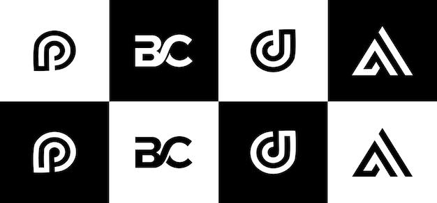 창의적인 모노그램 로고 디자인 세트