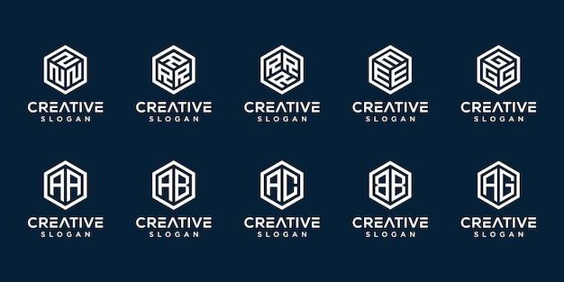 Набор креативных монограмм с шестиугольником логотипа Premium векторы