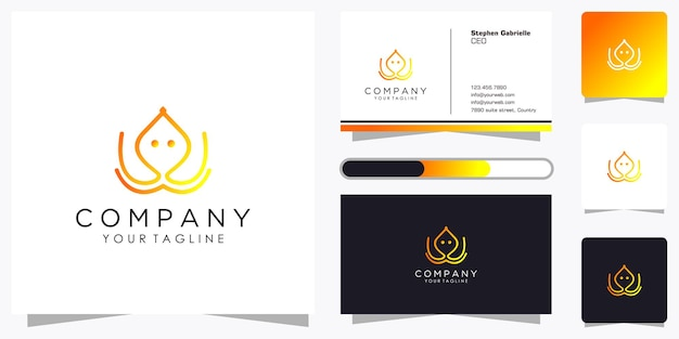 멋진 그라데이션 라인 아트 스타일과 명함 디자인 템플릿으로 창조적 인 문어 로고 세트