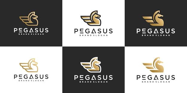 회사 premium vector에 대한 현대적인 라인 아트 개념, 말, 달리기, 빠른 창의적인 페가수스 로고 디자인 세트