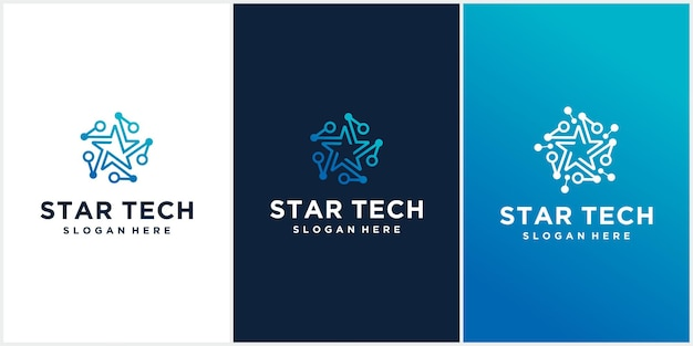 Набор креативных логотипов star technology синего цвета