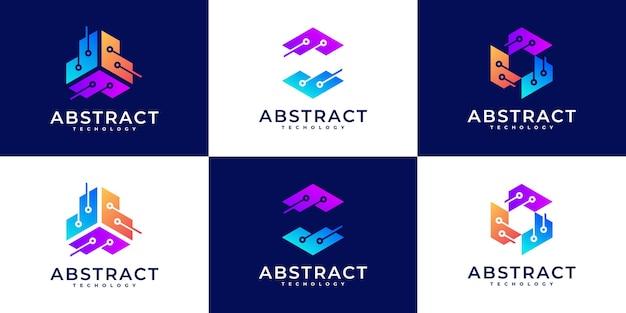 Набор вдохновения для дизайна логотипа creative technology, концепция шестиугольника