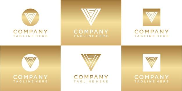 Набор креативных треугольников с монограммой и золотым логотипом